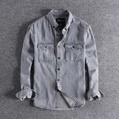 長袖襯衫 歐美復古水洗做舊條紋青年牛仔襯衣時尚翻領男士長袖襯衫外套