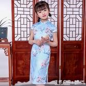 兒童旗袍夏季女童唐裝漢服中版風長款絲綢中式復古洋裝 怦然心動