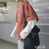 假兩件港風日繫復古原宿街頭T恤潮牌長袖男寬鬆情侶學生體恤上衣 千惠衣屋