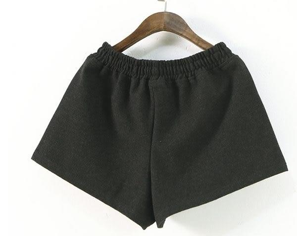 ☆莎lala【E166-0136】日系鬆緊帶口袋短褲-(現)黑色百搭闊腿短褲(SIZE:M)