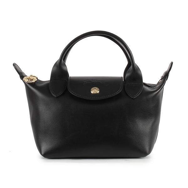 Longchamp小羊皮短提把小型手提水餃包(黑色)480623