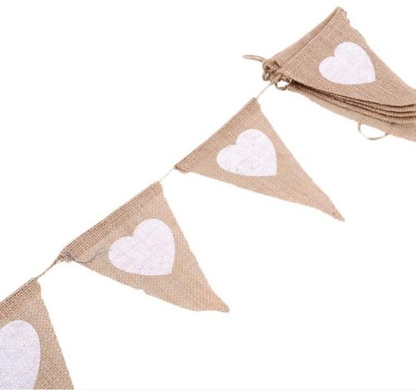 婚禮裝飾麻布愛心三角旗派對用品舞台背景佈置拉旗婚慶條幅13片─預購CH3336