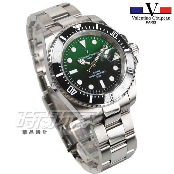 valentino coupeau 范倫鐵諾 夜光時刻 不銹鋼 防水手錶 男錶 潛水錶水鬼 石英錶 V61589漸層綠