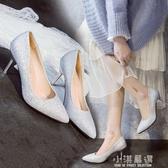 走秀銀色高跟鞋女細跟婚紗照禮服鞋中跟3-5-7cm宴會年會伴娘單鞋『小淇嚴選』