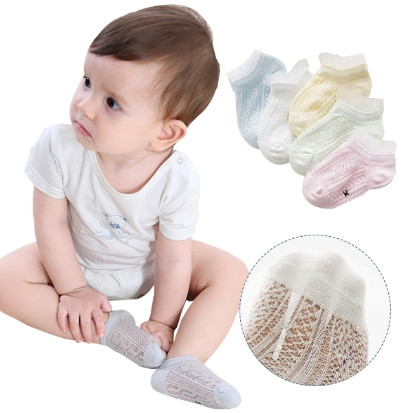 5雙入-兒童襪子春夏薄棉網眼防蚊襪 鏤空船襪-JoyBaby