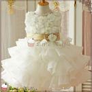 歐系優雅多層次立體花朵小禮服/畢業白洋裝/花童禮服