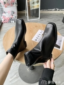 短靴韓國東大門潮方頭裸靴後拉鏈短筒低跟瘦瘦靴復古馬丁靴短靴女麥吉良品