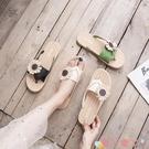 沙灘鞋 2021新款夏季人字拖鞋女外穿時尚花朵韓版耐磨防滑女士沙灘涼拖鞋 愛丫 新品