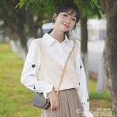 假兩件襯衫 2021秋冬新款設計感襯衫女荷葉長袖打底愛心刺繡假兩件上衣 韓國時尚週 免運