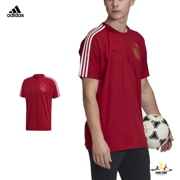 Adidas Arsenal CNY 男 暗紅 短袖 上衣 愛迪達 火鳳 足球衣 棉質 運動 休閒 短T FH7893