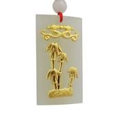 金鑲玉項鍊 和闐玉吊墜-竹子大方生日情人節禮物男女飾品73gf21[時尚巴黎]