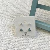 小三角+小鋼珠(組合4入)耳環-耳針-C201201-pipima