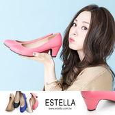 ESTELLA-MIT全真皮復古舒適粗跟鞋