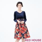 【RED HOUSE 蕾赫斯】絨布花朵洋裝(共2色)