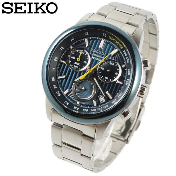 【萬年鐘錶】SEIKO 三眼計時碼錶  日期顯示  防水百米 炫彩藍錶面 SSB207P1(8T68-00A0B)