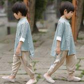 漢服男童兒童唐裝男童中國風夏款新款棉麻中式改良漢服寶寶復古民族風衣服【販衣小築】