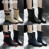 現貨五折 雨鞋 時尚韓國雨鞋女成人雨靴女士馬丁膠鞋中筒水靴防水鞋短筒防滑套鞋 9-19