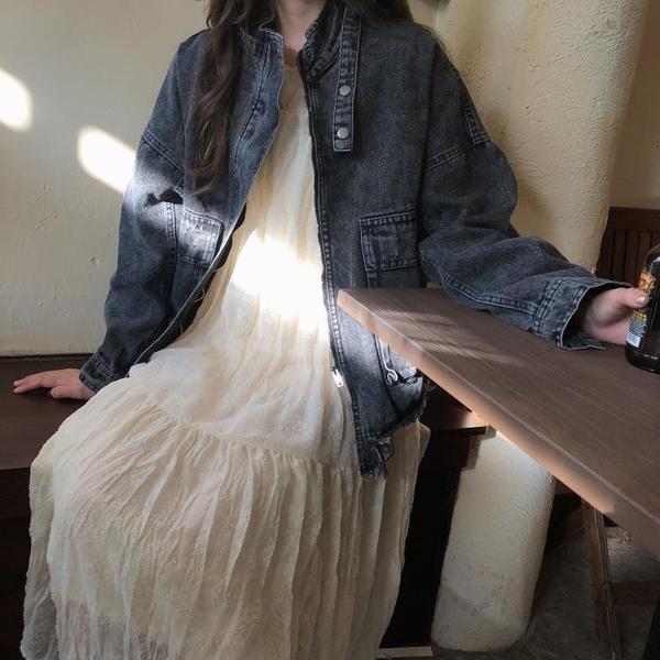 復古寬松提花連身裙韓版秋季新款法式氣質長裙