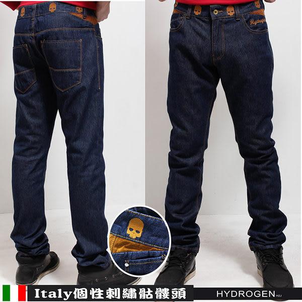 H2J金色骷髏頭刺繡直筒牛仔褲(H_7088 藍色)