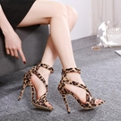 歐美新款 2021細跟性感豹紋女鞋 夜店時尚表演女涼鞋 高跟鞋