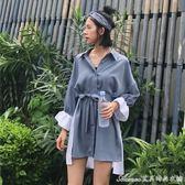 早春新款女裝寬鬆顯瘦不規則拼色繫帶中長款學生長袖襯衫洋裝女艾美時尚衣櫥