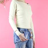 彈性貼身下擺前開衩坑條針織上衣《EASY LOVE 簡單愛》  共2色 - 1060919106
