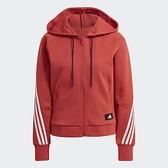 ADIDAS 3-STRIPES FULL-ZIP 女裝 外套 連帽 休閒 拉鍊口袋 寬鬆 橘紅【運動世界】GJ5418