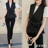 夏季短款西裝馬甲女韓版收腰顯瘦百搭背心系帶修身黑色坎肩外套 QG27412『東京衣社』