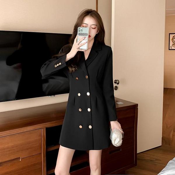 實拍西裝連身裙女雙排扣收腰顯瘦法式職業氣質黑色裙子西裝連身裙