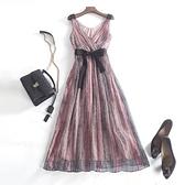 洋裝-桑蠶絲典雅氣質V領條紋連身裙73sz17【時尚巴黎】