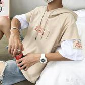 連帽短袖t恤衛衣 夏季日系男潮流寬鬆學生帶帽套頭短袖男半袖 BT2701【旅行者】