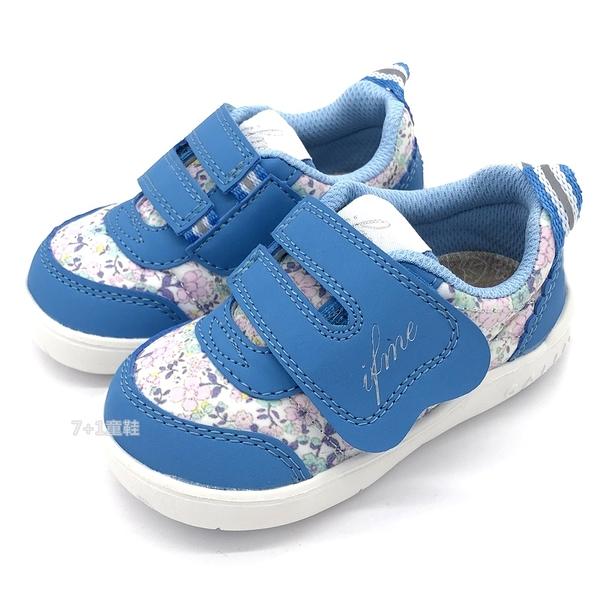 《7+1童鞋》日本 IFME 透氣 魔鬼氈 寶寶機能鞋 學步鞋 D429 藍色