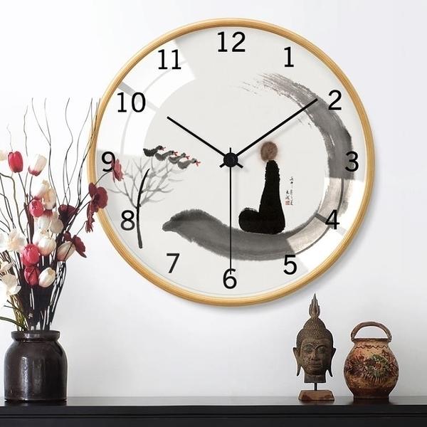 時鐘中式客廳家用時鐘現代簡約大氣靜音掛鐘個性創意時尚石英藝術鐘表 DF 維多原創