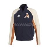 adidas 外套 VRCT Jacket 藍 橘 男款 棒球外套 立領 James Harden 【ACS】 DX8408