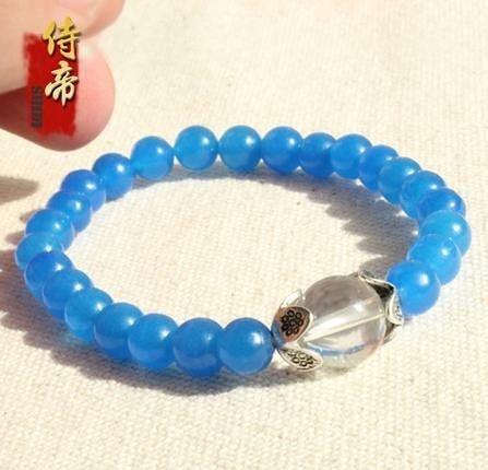 藍玉石銀配白水晶手鏈