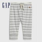 Gap 嬰兒 清爽條紋設計鬆緊休閒褲 577029-淺麻灰