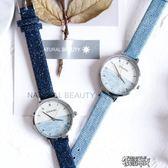 正韓版牛仔帶文藝女生手錶簡約森繫清新女錶中學生電子錶