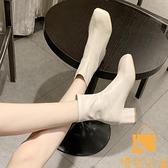 馬丁靴女英倫風薄款百搭單靴瘦瘦靴中粗跟短靴【慢客生活】