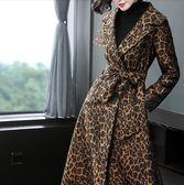 豹紋大衣女秋冬新款韓版時尚過膝長款毛呢外套NE439A.9830胖胖唯依2店