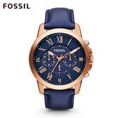 FOSSIL Grant 藍色奢華皮革計時手錶 男 FS4835
