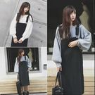 【TU03】正韓 大口袋條紋吊帶裙洋裝 ...
