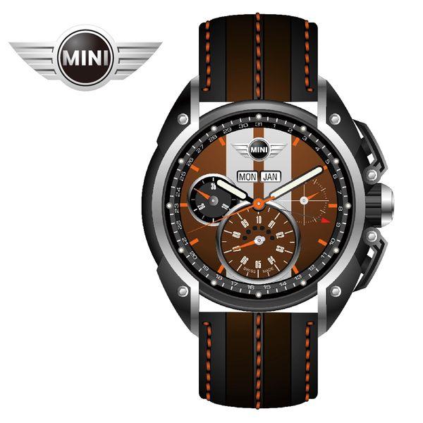 【萬年鐘錶】MINI Swiss Watches英國風格 雙巧克力色三眼外圈數字日期 黑棕雙色皮帶錶   45mm MINI-04