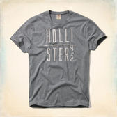 Hollister HCO Trestles Beach T-Shirt 字母刺繡男款短T-灰