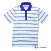 POLO衫男款短袖 夢特嬌 寶藍細條紋(吸濕排汗)