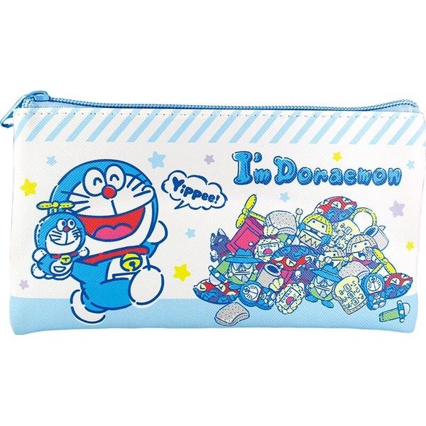 小禮堂 哆啦A夢 皮質扁平拉鍊筆袋 皮質筆袋 鉛筆袋 鉛筆盒 (藍白 玩偶) 4548626-12722