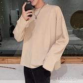 秋季新款港風長袖T恤男寬鬆連帽T恤打底衫韓版潮流ins情侶純色上衣-ifashion