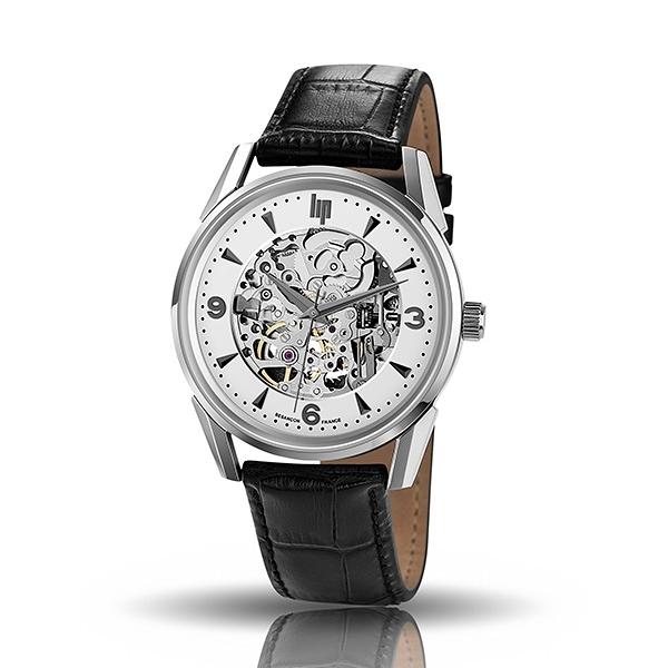 【lip】Himalaya精緻時尚真皮鏤空機械腕錶-時尚黑/671248/台灣總代理公司貨享兩年保固