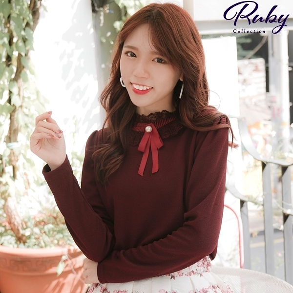 上衣 韓國直送‧蕾絲圓領蝴蝶結長袖上衣-Ruby s 露比午茶
