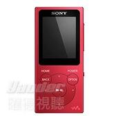 【曜德視聽】SONY NW-E394 紅色 8GB 數位隨身聽 震撼低音 / 免運 / 送絨布袋