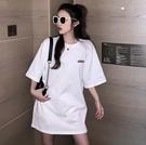 EASON SHOP(GW6823)實拍純棉撞色英文字母印花薄款長版OVERSIZE七分袖素色短袖T恤裙連身裙落肩內搭